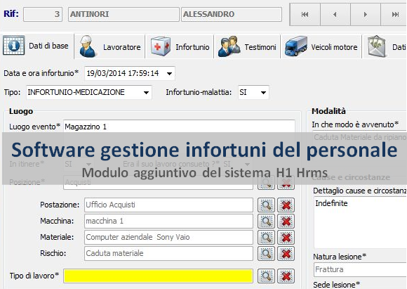 Software gestione infortuni del personale H1 Hrms EBC Consulting